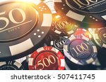 Casino Chips Gambling Concept 3D illustration. Casino Games. - stock photo