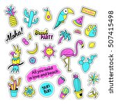 pop art set with fashion patch... | Shutterstock . vector #507415498