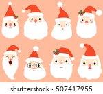 Cartoon Santa Claus Heads Set....