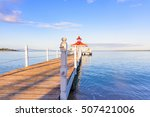 gazebo with a bridge on the... | Shutterstock . vector #507421006