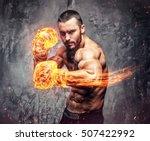 shirtless aggressive fighter... | Shutterstock . vector #507422992