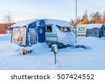 snowy winter camping with... | Shutterstock . vector #507424552