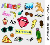 fashion patch badges. big set.... | Shutterstock . vector #507429652