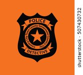 police badge icon. orange... | Shutterstock .eps vector #507430732