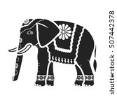 indian elephant icon in black... | Shutterstock .eps vector #507442378
