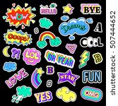 pop art set with fashion patch... | Shutterstock . vector #507444652