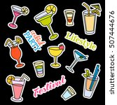 fashion patch badges. cocktail... | Shutterstock . vector #507444676