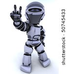 3D render of a robot presenting peace sign - stock photo