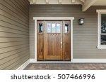 front brown door with a window | Shutterstock . vector #507466996