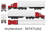 Big Truck With Trailer Vector...