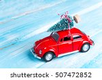 miniature red car with... | Shutterstock . vector #507472852
