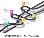 road trip and journey route... | Shutterstock .eps vector #507476602