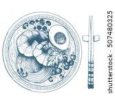 asian food ramen and chopsticks.... | Shutterstock .eps vector #507480325