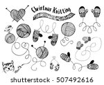 hand drawn knitting  mittens... | Shutterstock .eps vector #507492616