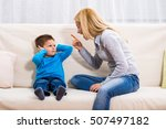 angry mother is scolding at her ... | Shutterstock . vector #507497182