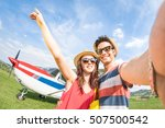 young couple taking selfie with ... | Shutterstock . vector #507500542