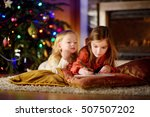 two cute little sisters writing ... | Shutterstock . vector #507507202