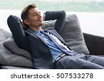 smiling man with hands behind... | Shutterstock . vector #507533278