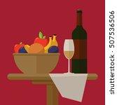 fruit wine glass  dinner wagon... | Shutterstock .eps vector #507536506