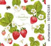 vector strawberry seamless... | Shutterstock .eps vector #507542185