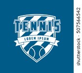 tennis emblem flat icon on blue ... | Shutterstock .eps vector #507566542