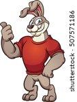 cartoon rabbit wearing a red t... | Shutterstock .eps vector #507571186