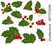 christmas mistletoe holiday set.... | Shutterstock .eps vector #507575248