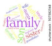 family word cloud on white... | Shutterstock .eps vector #507582568