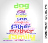 family word cloud in shape of... | Shutterstock .eps vector #507582598