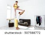 young beautiful sportive couple ... | Shutterstock . vector #507588772