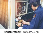 technician is checking air... | Shutterstock . vector #507593878