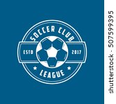 soccer league emblem line icon... | Shutterstock .eps vector #507599395