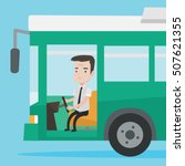 caucasian bus driver sitting at ... | Shutterstock .eps vector #507621355