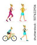 female exercise icons in flat... | Shutterstock .eps vector #507622936