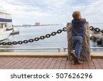 boy in harbor. little kid... | Shutterstock . vector #507626296