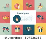 celebration and birthday icons... | Shutterstock .eps vector #507636358