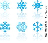 six delicate snow flakes in... | Shutterstock .eps vector #5076391