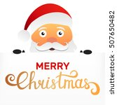 santa claus holding blank sign. ... | Shutterstock .eps vector #507650482