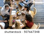 Stock photo coffee shop talking leisure lifestyle relaxation concept 507667348