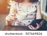 close up of hand woman using... | Shutterstock . vector #507669826