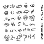 big set different doodle object.... | Shutterstock .eps vector #507675952