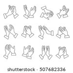 clapping linear black white... | Shutterstock .eps vector #507682336