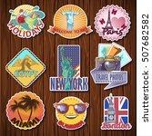 nine isolated travel sticker... | Shutterstock .eps vector #507682582