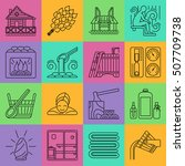 modern vector line icons with... | Shutterstock .eps vector #507709738