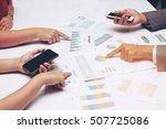 human hands of group coworkers... | Shutterstock . vector #507725086