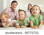 family at home  happy children... | Shutterstock . vector #50772721