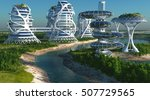 future city on the coast.3d... | Shutterstock . vector #507729565