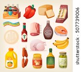 everyday goods and food... | Shutterstock .eps vector #507739006