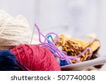 colorful wool balls and needles ... | Shutterstock . vector #507740008