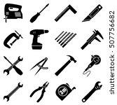set of sixteen industrial ... | Shutterstock .eps vector #507756682